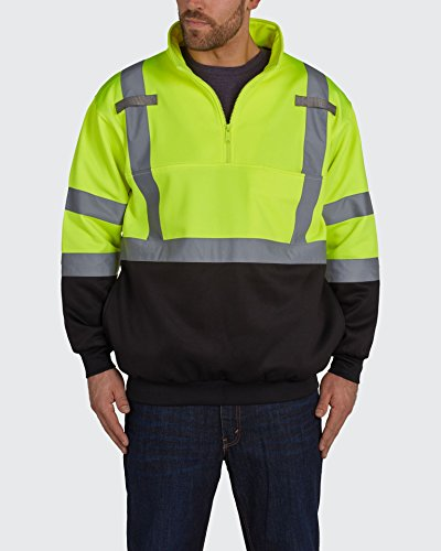 Utility Pro UPA542 Polyamide High-Vis 1/4 Zip Pullover with Dupont Teflon fabric protector,  Black\Yellow,  3X-Large