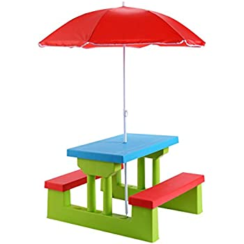 Costzon Easy Store Large Picnic Table With Umbrella Garden Yard Folding  Children Bench Outdoor By Costzon