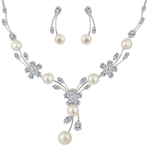 EleQueen Women's Cubic Zirconia Simulated Pearl Flower Bridal Necklace Earrings Jewelry Set Ivory Color Silver-tone (Real Pearl Jewelry Sets For Women)