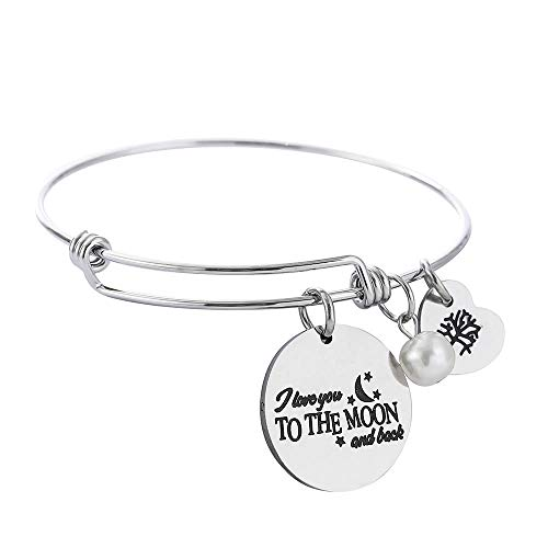 M MOOHAM Inspirational Bracelet for Mom Gifts - Remember I Love You Mom Motivational Adjustable Charms Bracelet Jewelry Gifts for Mother's Day Birthday Thanksgiving Day