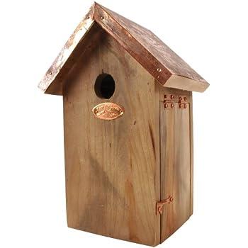 Esschert Design Chickadee Bird House   Antique Wash With Copper Roof