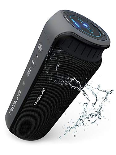 TREBLAB HD55 - Deluxe Bluetooth Speaker - Impeccable 360° HD Surround Sound & Best Bass, Great For Office, Travel & Beach Parties, Waterproof IPX4, Loud 24W Stereo, Portable Wireless Blue Tooth w/ Mic (Cup Bluetooth Speakers Holder)