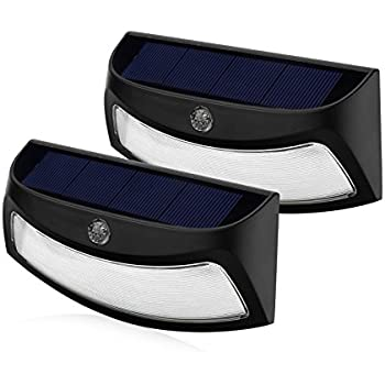 xtf2015 Black Solar Power Light LED Outdoor Solar Smiling Wall Lights , Wireless Security Step Light Night Lamps - AUTO OFF - for Stair, Garden, Doorway, Outside Wall - Pack of 2 - Cool White