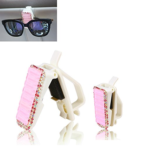 Mini-Factory Car Visor Sunglasses Clip Holder Bling Pink Crystal Diamond Glasses Accessories for Girls & - Sunglass Factory