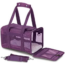 Sherpa Original Deluxe Pet Carriers With Bonus Travel Port-A-Bowl (Plum, Large)