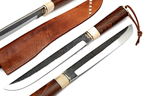 Viking Vintage High Carbon Steel Knife with Camel Bone Walnut Wood Handle and Leather Sheath Hunting Knife