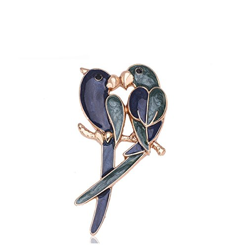 Elegant Cute Birds Couple Parrots Brooch Pin clip Lapel Sticker Bridal Costume Corsage Accessory