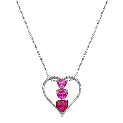 """Jewelili Sterling Silver Pink Sapphire, Created Ruby and Diamond Accent Three Stone Heart Pendant Necklace, 18"""""""