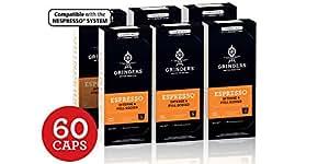 Grinders Coffee Nespresso Compatible Capsules, 60 Espresso Capsules