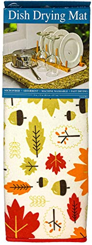 Envision Home Microfiber Dish Drying Mat (Fall Leaves, Large)