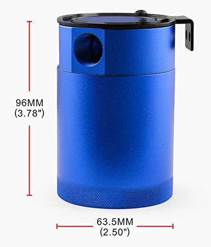 Anngo Compact Baffled 3 Port Oil Catch Can Tank Universal Aluminum Air Oil Separator Blue
