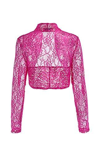 Manche Party Outwear Vintage Chic Festival Femme D'épaule Bolawoo Les Printemps Uni Veste Mode Rosered Bolero Épaules Hausser Elégante Dentelle Court Automne SPHH6WqOwx