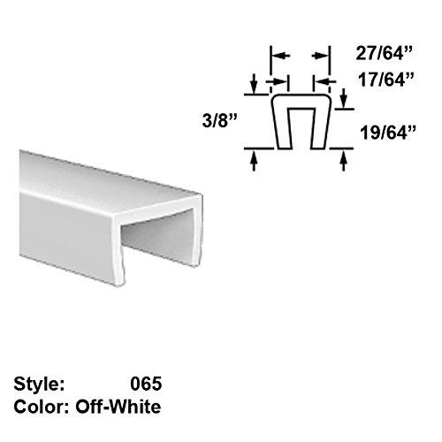 Food-Grade Nylon Plastic U-Channel Push-On Trim, Style 065 - Ht. 3/8'' x Wd. 27/64'' - Off-White - 25 ft long by Gordon Glass Co.