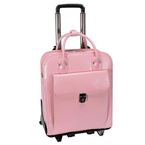 McKlein USA W Series La Grange Leather Vertical Detachable-Wheeled Ladies, Pink, One (Pink Italian Briefcase)