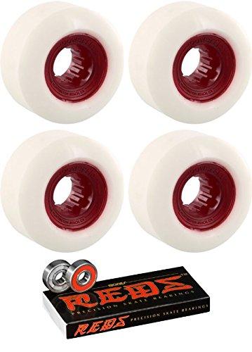 チャレンジ登録するレギュラー58 mm Powerflex Skateboards Rock CandyスケートボードWheels with Bones Bearings – 8 mm Bones Reds Precisionスケート定格スケートボードベアリング – 2アイテムのバンドル