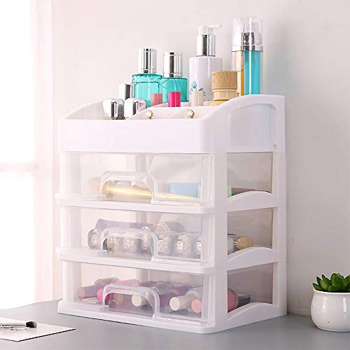 Hot Sale!DEESEE(TM)Large Cosmetic Storage Box Table Drawer Type Skin Care Products Storage Rack (White) -