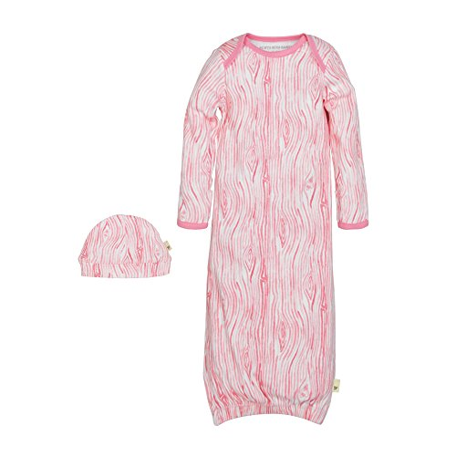- Burt's Bees Baby Unisex Baby Gown and Cap Set, 100% Organic Cotton, 0-6 Months, Water Lily Woodgrain, 1-Pack