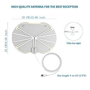 TV Antenna, Binrrio Ultra Thin Digital Indoor HDTV Antenna with Detachable Amplifier Signal Booster High Reception and 50 Miles Range(Bird)