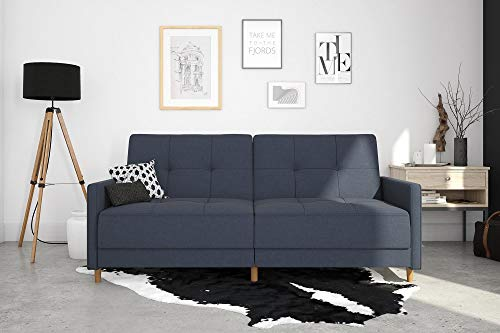 DHP Andora Coil Futon Sofa Bed Couch with Mid Century Modern Design - Navy Blue Linen - Mid-Century Modern design with tufted seat and back cushions and wooden legs. Seat is made with independently encased coils providing additional comfort. Includes center legs for additional support. - sofas-couches, living-room-furniture, living-room - 410vzeEfhpL -