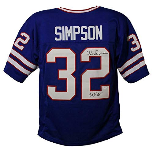 O.J. Simpson Autographed/Signed Buffalo Bills XL Blue Jersey HOF JSA