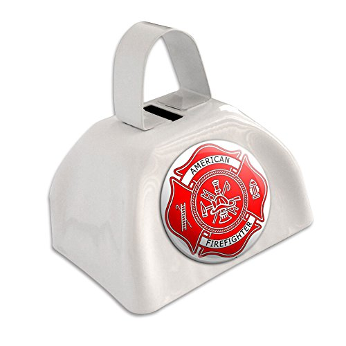 Firefighter Firemen Maltese Cross - American - Red White Cowbell Cow Bell ()