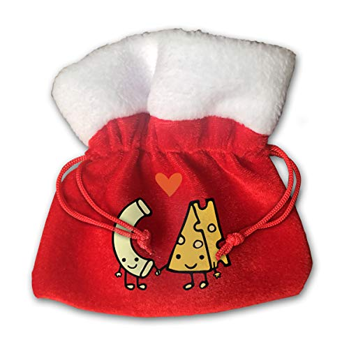 Personalized Santa Sack,Cute Macaroni and Cheese Love Portable Christmas Drawstring Gift Bag -