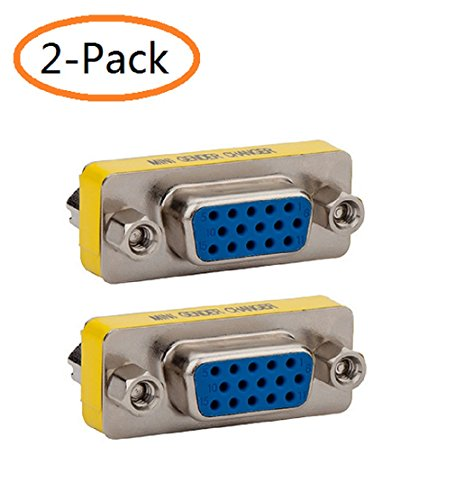 VGA SVGA Connector Adapter,DB HD 15-Pin VGA SVGA KVM Female to Female Mini Gender Changer Coupler Adapter,(2-Pack)