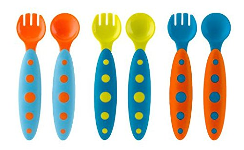 Modware Toddler Utensil , Blue/Orange and Green/Blue and Ora