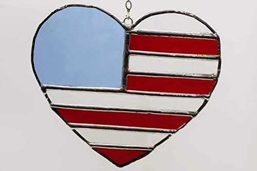 (Handmade Stained Glass Medium Patriotic US Flag Heart Suncatcher Ornament)