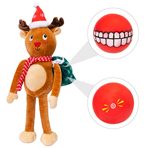 BINGPET Christmas Dog Toys Squeaky Plush Toy Pet Reindeer Chew Toy for Small to Medium Dogs (Christmas Toys Dog Large)