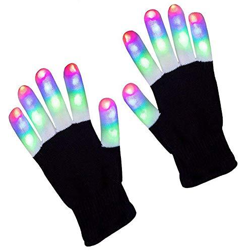 LED Gloves, 6 Modes 3 Color LED Finger Light Gloves Flashing Rave Gloves Glow Lighting Fingertip Light Up Toys Halloween Christmas Costume Clubbing Birthday Disco Party