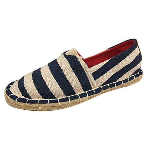 (JJHAEVDY Women's Striped Flat Espadrilles Loafers Comfortable Non-Slip Maternity Shoes Casual Slip-on Cloth Shoes)