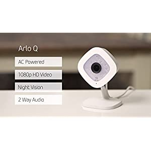 Arlo Q Â Wired, 1080p HD Security Camera | Night vision, Indoor only, 2-Way Audio | Cloud Storage Included | Works with Alexa (VMC3040)