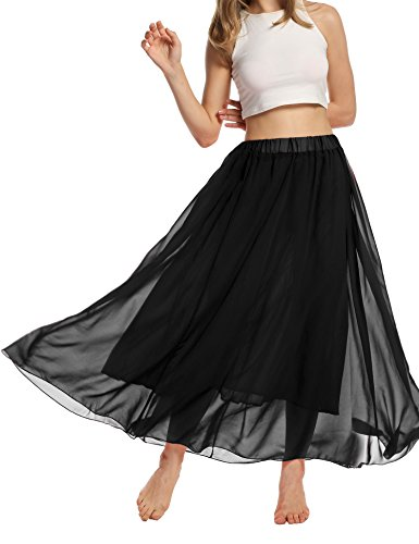 ACEVOG Women Elastic Dress Casual Pleated Retro Maxi Chiffon Long Skirt