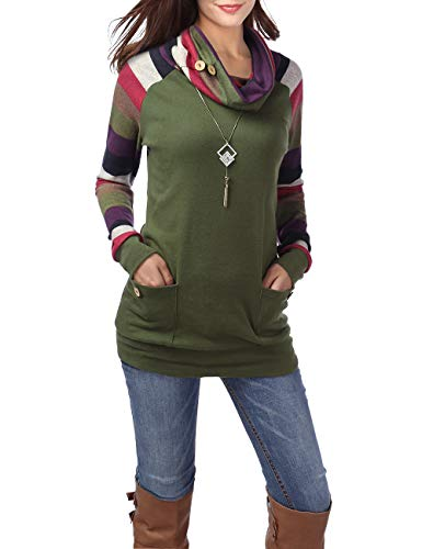 BaiShengGT-Womens-Long-Sleeve-Button-Cowl-Neck-Casual-Slim-Tunic-Tops-with-Pockets