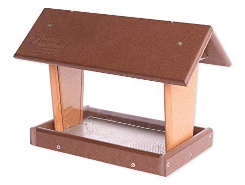 Amish-Made Hanging Mini Bird Feeder, Eco-Friendly Poly-Wood (Milwaukee Brown/Cedar)