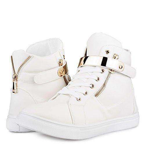 Sneaker Fashion En Cuir Imitation Cuir Addison Pour Femmes Avec Lacet Velcro Métallique Blanc