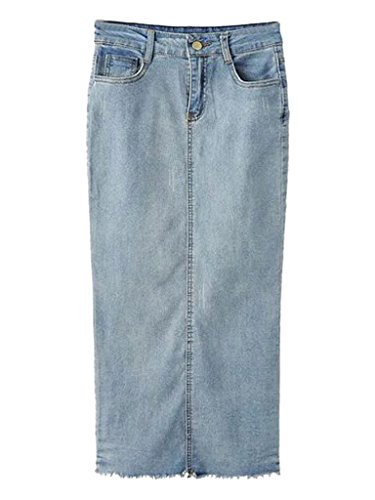 Choies Women's Fashion Fring Hem Denim Long Jean Skirt M