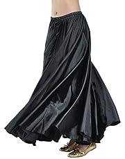 Aivtalk Stain Belly Dance Skirt Swing Skirts for Women Stage Performance Skirt