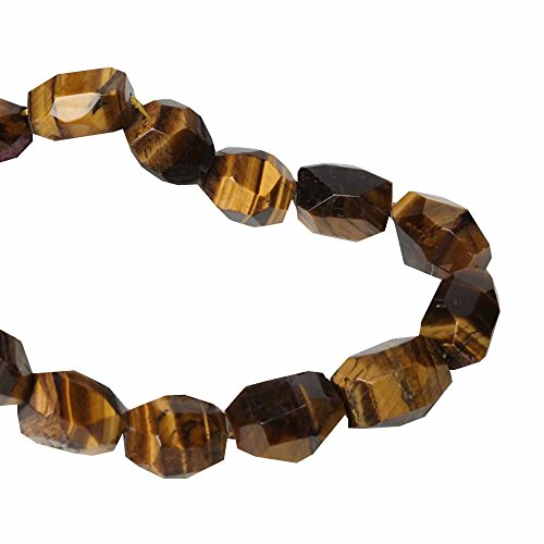 (Chunky Bold Necklace Bracelet Earrings Pendants Jewelry Making Beads Supply Natural Yellow Tiger Eye Stone Irregular Faceted Polygon Nugget Beads One Strand 15 Inch APX 16 Pcs)