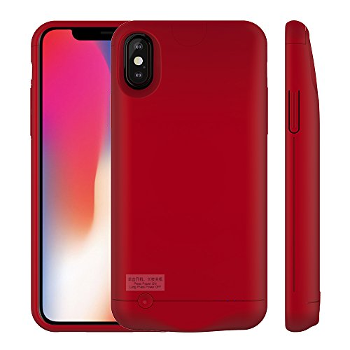 iPhone X/iPhone Xs Battery Case, GIFTCO-USA 6000mAh Extended Protective Charger Case (Red)