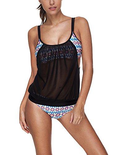 da h ZEVONDA colori set bagno 3 Bikini costumi bagno taglia Costumi pezzo Set costume Stile da 12 grossa Tankini Donne HqZ7BrH