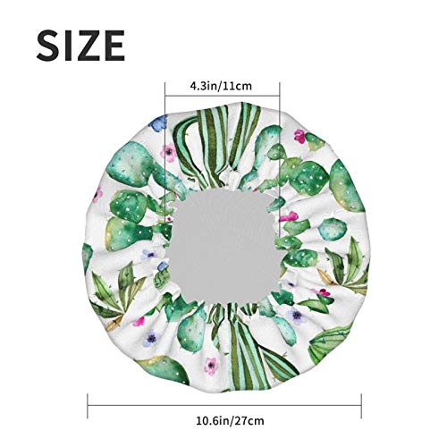 Watercolor Cactus Plant Luxury Shower Cap For Women Waterproof, Reusable Shower Cap For Women Peva Lining Oversized Design For All Hair Lengths 10.6 Ins In Diameter