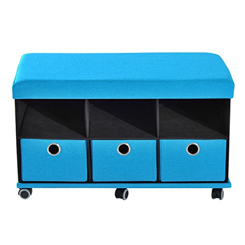 Folding Storage Organizer Ottoman Bench Stool Seat Footrest w/Drawers Wheel Blue - Storage Ottoman Wheels