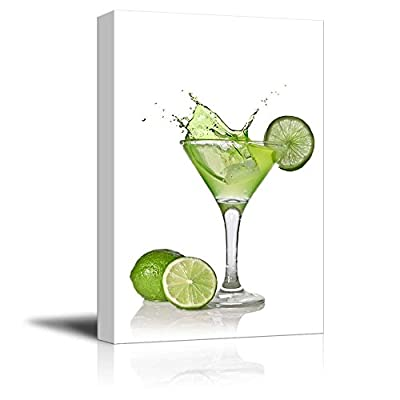 Canvas Prints Wall Art - Martini with Lime | Modern Wall Decor/Home Decoration Stretched Gallery Canvas Wrap Giclee Print. Ready to Hang - 32