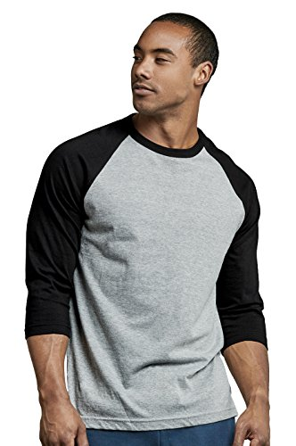 Men's 3/4 Sleeve Casual Raglan Jersey Baseball Tee Shirt (L, BLK/LGR)