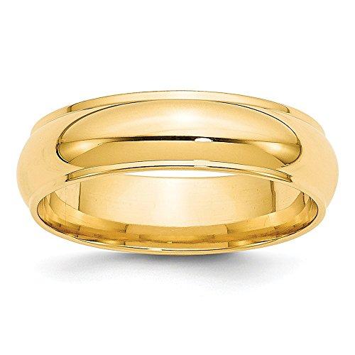 (Jewel Tie 14k Yellow Gold 6mm Half Round with Edge Wedding Band Size 10.5)