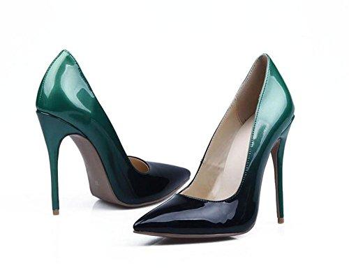 del Color gradiente Las Dedo pie Boca XIE los Cuero Baja GRADIENTCOLOR El Color 38 del Gradient Mujeres del 40 de Patente de Señaló la del Escoge Zapatos Ttqz5pzw