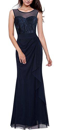 Patchwork HOMEYEE Sleeveless Kleid Cocktail Weinlese A028 Dunkelblau Maxi Spitze Frauen CIqCU