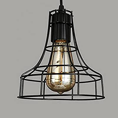 Pendant Light , Sanguinesunny Ceiling Lamp Industrial Vintage Style 1-Light Mini Hanging Lamp with LOFT Wire Cage Guard in Black Finish